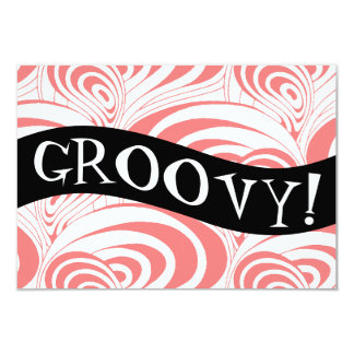 Stylish Retro Coral Galaxy Swirl Groovy Invitation