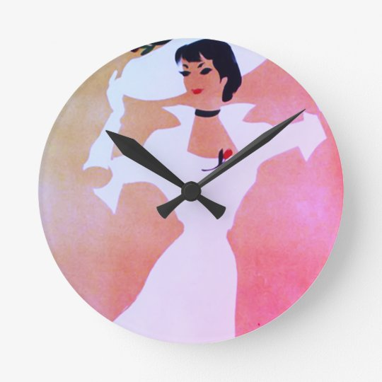 Stylish Retro Lady in Blushing Pink and Peach Round Clock