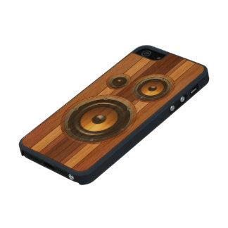 Stylish retro wood grain speakers
