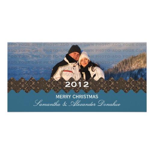 Stylish Ribbon Holiday Photo Card, Blue