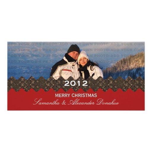 Stylish Ribbon Holiday Photo Card, Red