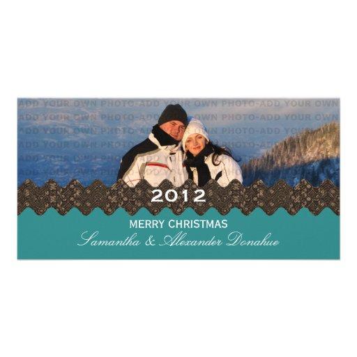 Stylish Ribbon Holiday Photo Card, Teal