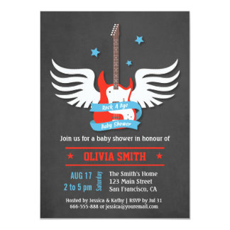 Stylish Rock and Roll Rock a Bye Baby Shower 11 Cm X 16 Cm Invitation Card