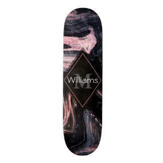 Stylish rose gold abstract marbleized design custom skateboard