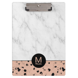 Stylish Rose Gold and Marble Pattern with Monogram Clipboard