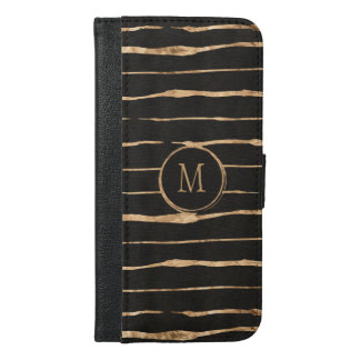 Stylish Rose-Gold Crazy Lines Pattern iPhone 6/6s Plus Wallet Case