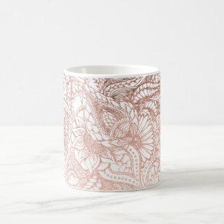 Stylish rose gold foil hand drawn floral pattern coffee mug