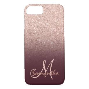 Stylish rose gold ombre burugndy block monogram Case-Mate iPhone case
