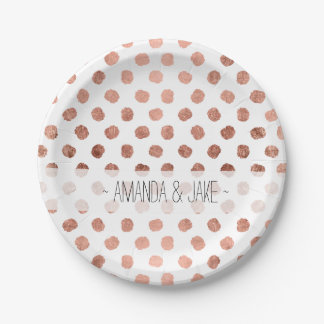 Stylish rose gold polka dots brushstrokes pattern 7 inch paper plate