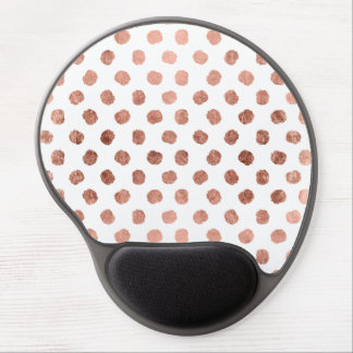 Stylish rose gold polka dots brushstrokes pattern gel mouse pad