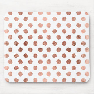 Stylish rose gold polka dots brushstrokes pattern mouse pad