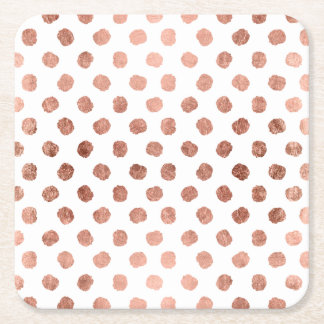 Stylish rose gold polka dots brushstrokes pattern square paper coaster