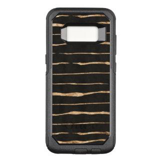 Stylish Rose-Gold Stripes Pattern On Black OtterBox Commuter Samsung Galaxy S8 Case