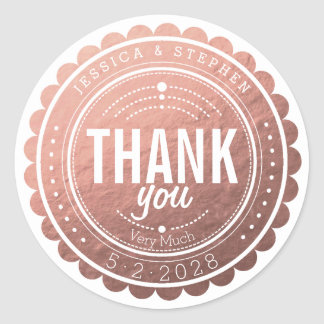 Stylish Rose Gold Thank You Wedding Sticker