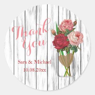 Stylish Rose Mason Jar - Thank You Round Sticker