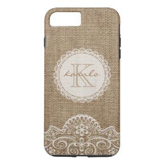 Stylish Rustic Burlap Ivory Lace Pattern Monogram iPhone 7 Plus Case
