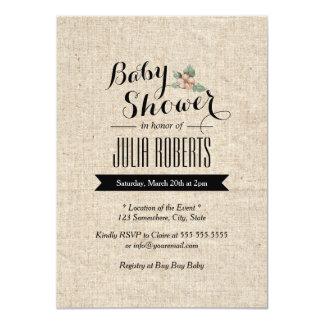 Stylish Rustic Burlap Texture Baby Shower 11 Cm X 16 Cm Invitation Card