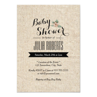 Stylish Rustic Burlap Texture Baby Shower Card