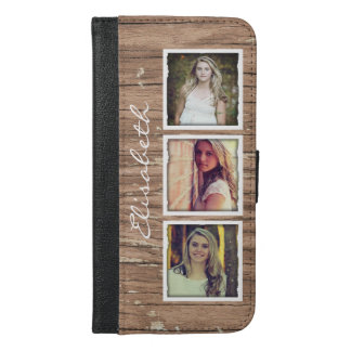 Stylish Rustic Wood Look Instagram Photo Collage iPhone 6/6s Plus Wallet Case