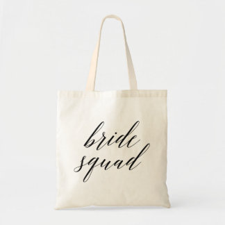 Stylish Script Bride Squad Tote Bag