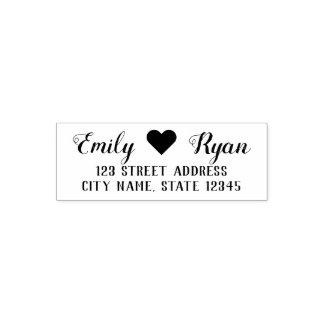 Stylish Script Heart Couple Return Address Self-inking Stamp
