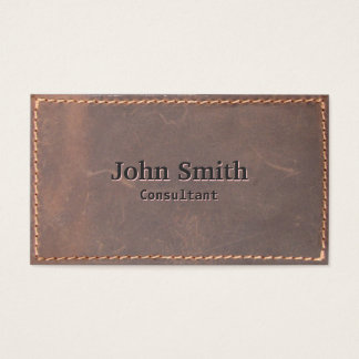 Stylish Sewed Leather Consultant Business Card