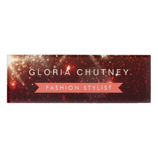 Stylish Shimmer Glamour Gold Glitter Sparkles Name Tag