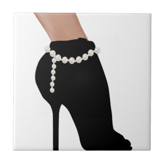 stylish silhouette beautiful woman shoes high heel ceramic tile