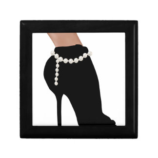stylish silhouette beautiful woman shoes high heel gift box