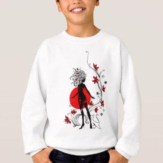 Stylish silhouette of elegant woman with sweet cat sweatshirt