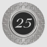 Stylish Silver & Black 25th Wedding Anniversary Round Sticker