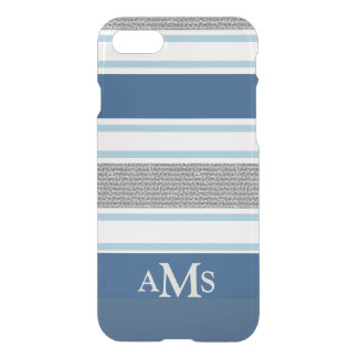 Stylish Silver Blue Striped 3 Monograms iPhone 7 Case
