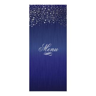 Stylish Silver Confetti Dots Dark Blue 10 Cm X 24 Cm Invitation Card