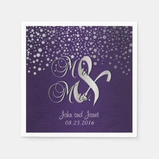 Stylish Silver Confetti Dots | Deep Dark Purple Disposable Serviette