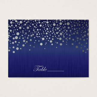 Stylish Silver Confetti Dots Sapphire Blue Business Card