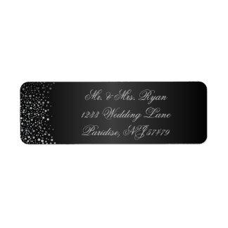 Stylish Silver Confetti Dots | Sheen Black Return Address Label