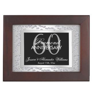 Stylish Silver Diamonds 60th Wedding Anniversary Keepsake Box
