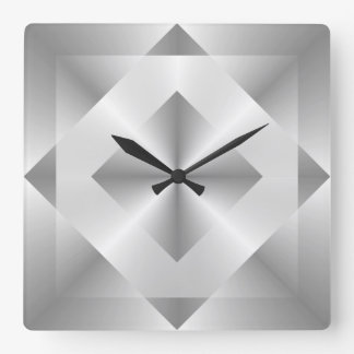 Stylish Silver Geometric Pattern Square Wall Clock