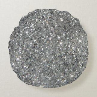 Stylish Silver Glitter Glitz Photo Round Cushion