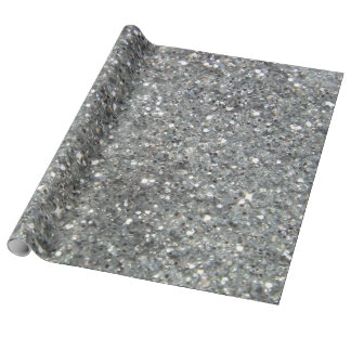 Stylish Silver Glitter Glitz Photo Wrapping Paper