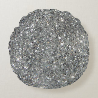 Stylish Silver Glitter Glitz Round Cushion