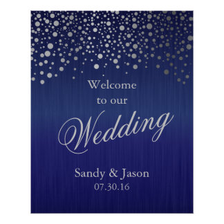 Stylish Silver Gray Confetti Dots | Dark Blue Poster