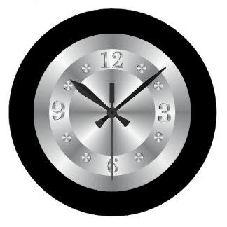 Stylish Silver Grey And Black Large Clock