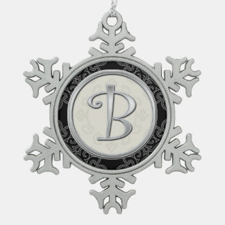 Stylish Silver Monogram  B Christmas Pewter Snowflake Decoration