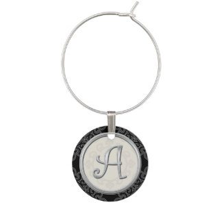 Stylish Silver Monogram Initial A Wine Charms