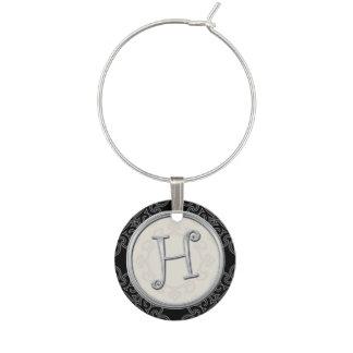 Stylish Silver Monogram Initial H Wine Charm