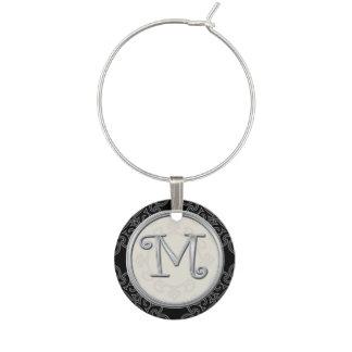 Stylish Silver Monogram Initial M Wine Charm