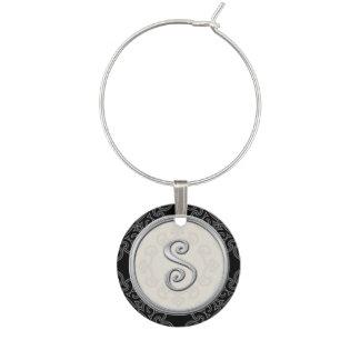 Stylish Silver Monogram Initial S Wine Charm