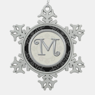 Stylish Silver Monogram  M Christmas Snowflake Pewter Christmas Ornament