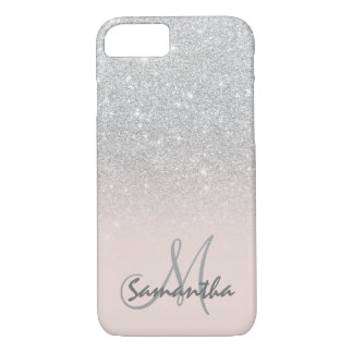 Stylish silver ombre pink block personalized iPhone 8/7 case